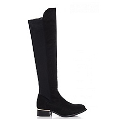 Quiz - Black stretch flat knee high boots