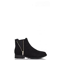 Quiz - Black studded zip flat boots