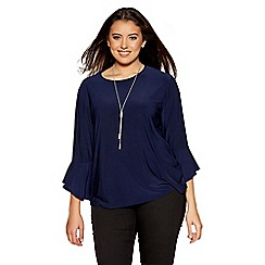 Quiz - Curve navy frill sleeves necklace top