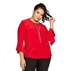 Quiz - Curve red frill sleeves necklace top