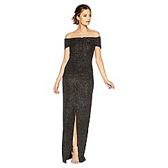 Quiz - Black and silver ruched front maxi dress