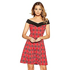 Quiz - Red and black check print bardot neck dress