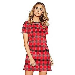 Quiz - Red and black check print tunic dress