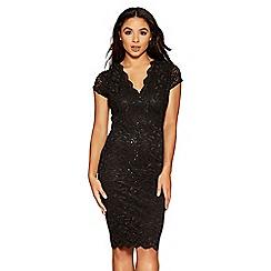 Quiz - Black sequin lace scallop detail cap sleeve dress
