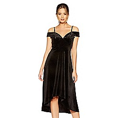 Quiz - Black velvet glitter sweetheart neck dress