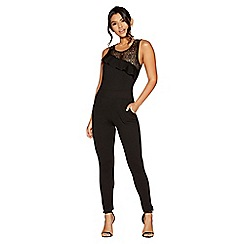 Quiz - Black crepe and lace asymetric tight leg jumpsuit