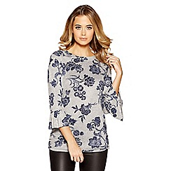 Quiz - Grey and blue light knit floral top