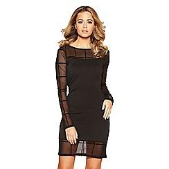 Quiz - Black check mesh dress