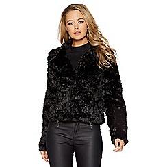 Quiz - Black faux fur one button short jacket