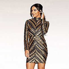 Quiz - Gabby´s black and gold  sequin long sleeve mini dress