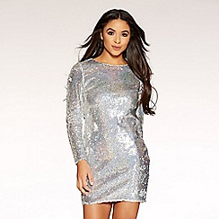 Quiz - Gabby´s silver hologram stretch long sleeve sequin dress