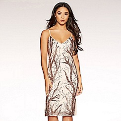 Quiz - Gabby´s nude and rose gold sequin split dress