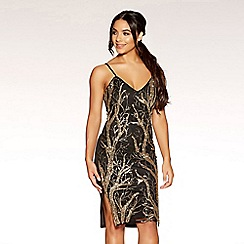 Quiz - Gabby´s black and gold sequin split side dress