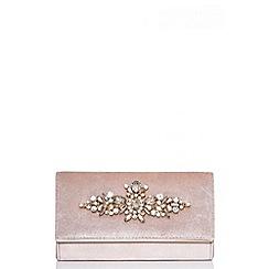 Quiz - Gabby´s nude velvet satin jewel clutch bag