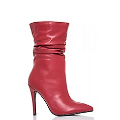 Quiz - Red pu ruched boots