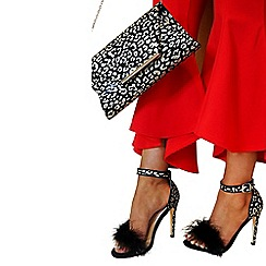Quiz - Gabby´s black and gold leopard print feathers heels