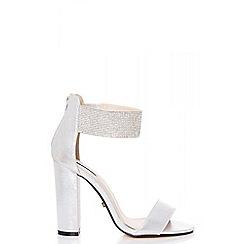 Quiz - Silver diamante ankle strap block heel sandals
