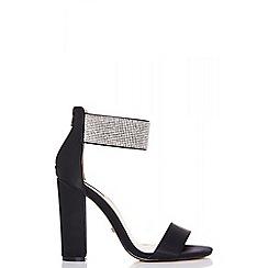 Quiz - Black diamante ankle strap block heel sandals