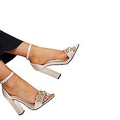 Quiz - Gabby´s nude velvet satin jewel sandals