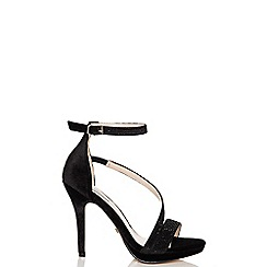 Quiz - Black velvet diamante strap sandals