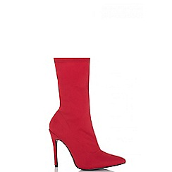 Quiz - Red ankle sock stiletto boots