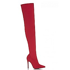 Quiz - Red over the knee sock boots