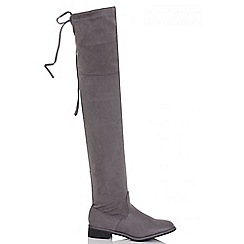Quiz - Grey over the knee tie back faux suede flat boots