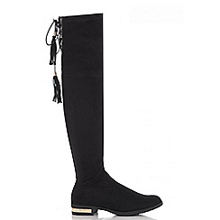 Quiz - Black faux suede gold detail boots