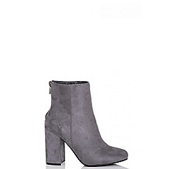 Quiz - Grey faux suede zip ankle boots