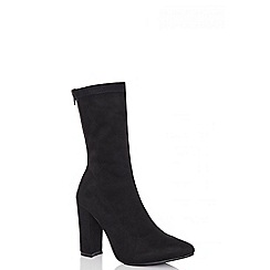 Quiz - Black over ankle faux suede block heel boots