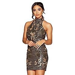 Quiz - Black and gold sequins turtle neck mini dress