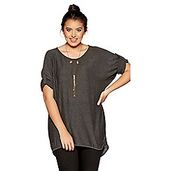 Quiz - Curve grey light knit 3/4 sleeves necklace top