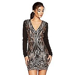 Quiz - Black and champagne embroidery and sequin long sleeve dress