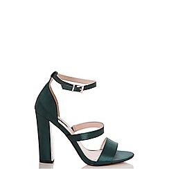 Quiz - Green satin strappy block heel sandals