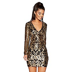 Quiz - Black and gold v neck long sleeves short dress