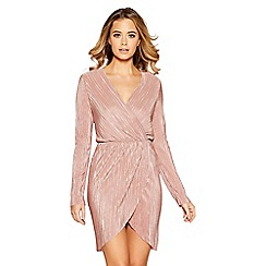 Quiz - Dusk pink metallic pleated wrap pencil dress