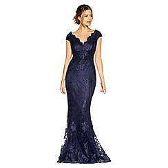 Quiz - Navy lace bardot fishtail maxi dress