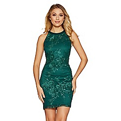 Quiz - Emerald green sequin flowers high neck short dress
