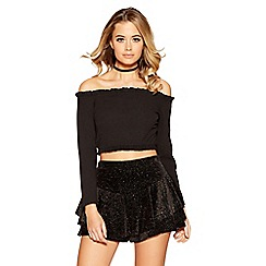 Quiz - Black multi glitter velvet frill side shorts