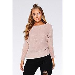 Quiz - Pink knit pearl detail jumper