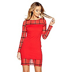 Quiz - Red and black check mesh bodycon dress