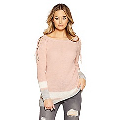 Quiz - Pink grey and cream knit jumper