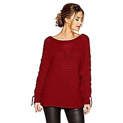 Quiz - Berry knit lace up batwing sleeves jumper
