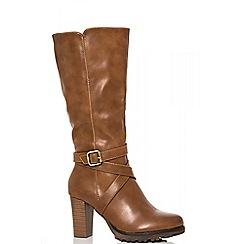 Quiz - Tan polyurethane straps block heel calf boots