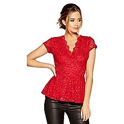 Quiz - Red lace sequin cap sleeves peplum top