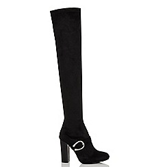 Quiz - Black faux suede block heel over the knee boots