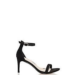 Quiz - Black faux suede low heel sandals
