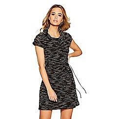 Quiz - Black, grey and cream light knit turtle neck tunic dress