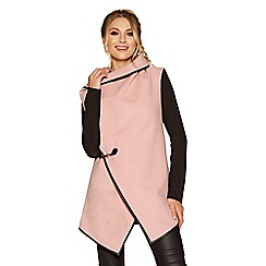 Quiz - Pink and black contrast sleeve cardigan