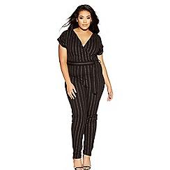 Quiz - Curve black and silver stripe wrap front jumpsuit